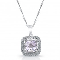 14k White Gold Pink Amethyst Diamond Pendant