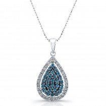 14k White Gold Treated Blue Diamond Tear Shaped Pendant