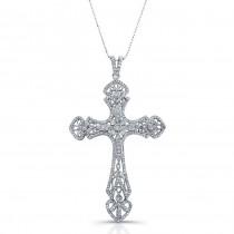 14k White Gold Diamond Large Vintage Cross Pendant
