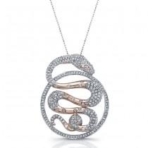 14k White and Rose Gold Diamond Circle Snake Pendant