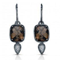 14k Black Gold Smokey Quartz Diamond Earrings