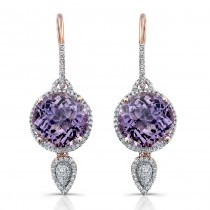 Amethyst Diamond Earrings, 14k Rose Gold