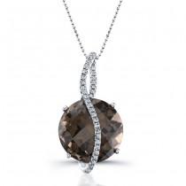 14k Black Gold Smokey Quartz Diamond Pendant