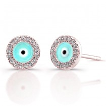 14k Rose Gold Diamond Evil Eye Earrings