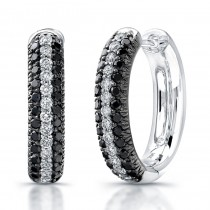 Black and White Pave Diamond Hoop Earrings