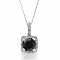 14k White Gold Black Diamond Halo Pendant