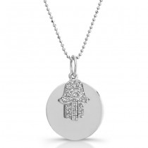 14k White Gold Diamond Disc Hamsa Necklace