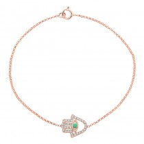 Rose Gold Hamsa Bracelet With Turquoise