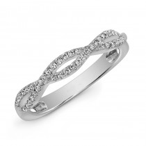 14K White Gold Twisted Diamond Band