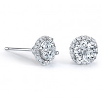 3/4 CTW Halo Diamond Earrings