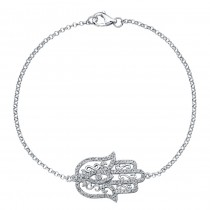 14k White Diamond Hamsa Filigree Bracelet