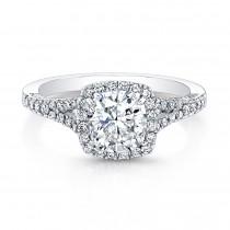 Halo Cushion Diamond Engagement Ring -Split Shank