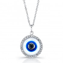 White Enamel Evil Eye Necklace-Black Diamond