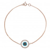 14k Rose Gold -White Enamel Evil Eye Diamond Bracelet