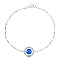 14k White Gold -White Enamel Evil Eye Diamond Bracelet
