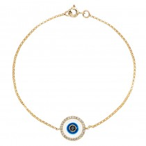 14k Yellow Gold -White Enamel Evil Eye Diamond Bracelet