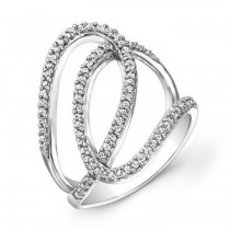 Modern White Gold Diamond Swril Ring