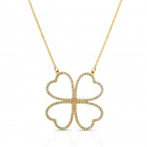 14K Yellow Diamond Four Leaf Clover