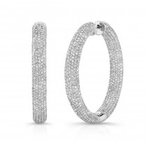 14K White Diamond Pave Hoops 8.50 CTW