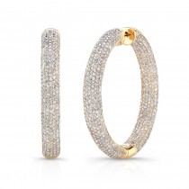 14K Yellow Diamond Pave Hoops 8.50 CTW