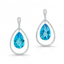 Pear Shape Blue Topaz Dangle Earrings