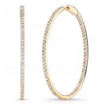 Yellow Gold 2 Inch Diamond Hoops 2.65cts