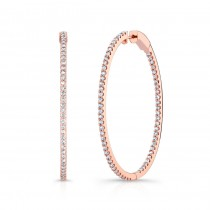 Rose Gold Oval Diamond Hoops Inside Out 2""
