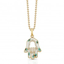 Yellow Gold Hamsa White Enamel