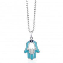 14K White Diamond Hamsa Lt Blue Enamel