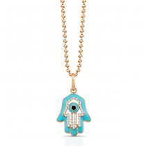 14K Rose Diamond Hamsa Lt Blue Enamel