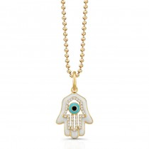 14K Yellow Diamond Hamsa Wt Enamel Necklace