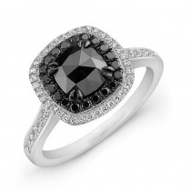 14K Gold 1ct Cushion Black Diamond Ring