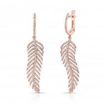 14K Rose Gold Diamond Leaf Earrings