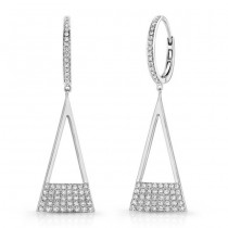 14K White Geometric Triangle Diamond Dangle Earrings