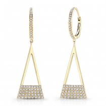 14K Yellow Geometric Triangle Diamond Dangle Earrings