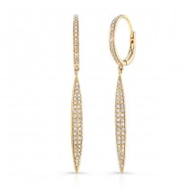 14K Yellow Marquis Shape Diamond Pave Earrings
