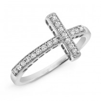 Pave White Gold Diamond Cross Ring
