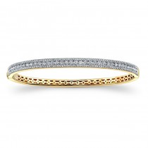 14K YG Diamond Prong -Channel Bangle 1.93CTW