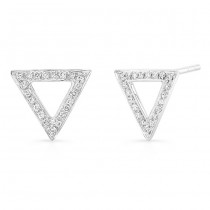 14K White Geometric Triangle Diamond Earrings