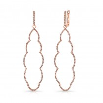 14K Rose Gold Diamond Frame Earrings