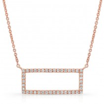 14K Rose Geometric Rectangle Diamond Necklace