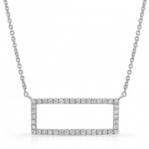 14K White Geometric Rectangle Diamond Necklace