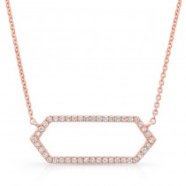 14K Rose Geometric Elongated Hexagon Diamond Necklace