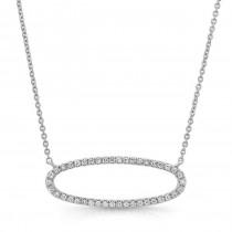 14K White Sideways Diamond Necklace