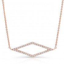 14K Rose Geometric Rhombus Diamond Necklace
