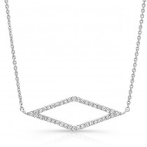 14K White Geometric Rhombus Diamond Necklace