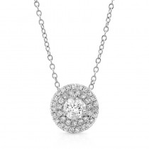 1/2ctw DIAMOND DOUBLE HALO PENDANT