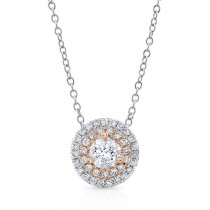 14K Rose 1/2ctw DIAMOND DOUBLE HALO PENDANT