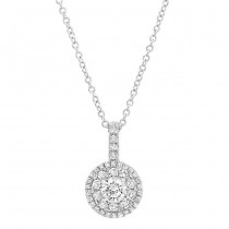 14K White 1/2ctw DIAMOND DOUBLE HALO PENDANT