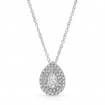 White Gold Pear Shape Diamond Halo Necklace With 1/2 CTW